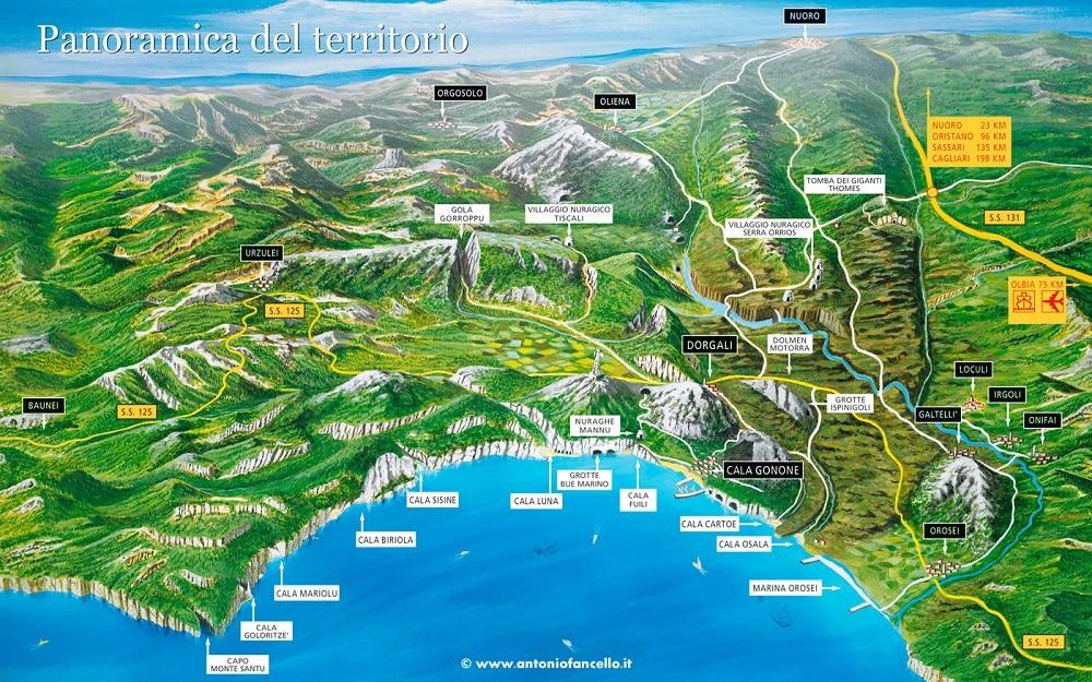 Carte des plages, Cala Gonone, Sardaigne