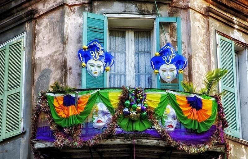 Décoration d'une maison lors du carnaval de la Nouvelle-Orléans