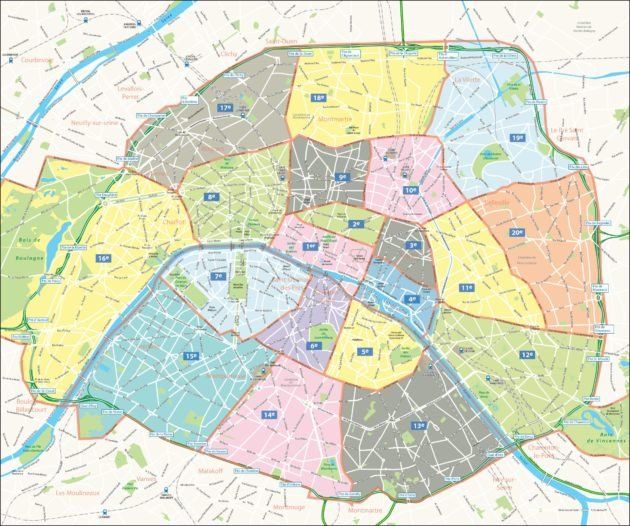 Carte & plan des arrondissements de paris