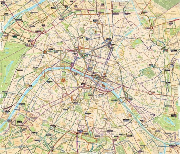 Carte & plan des transports de Paris (bus, tramway...)