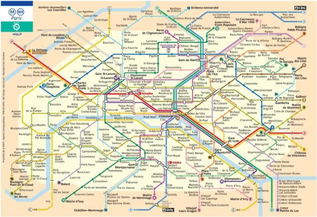 Carte & plan du métro de Paris