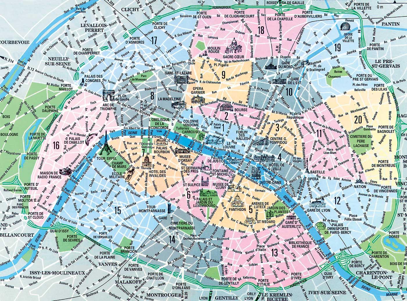 Cartina Centro Di Parigi.Mappe E Percorsi Dettagliati Di Parigi