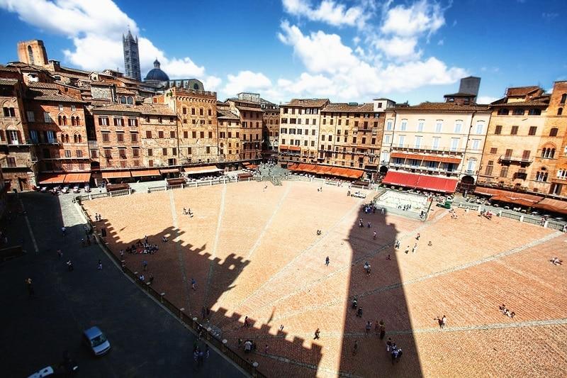 Piazza del Campo, loger à Sienne