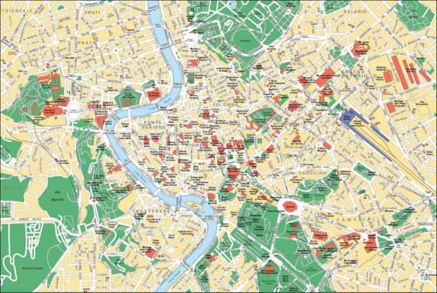 Carte & plan des monuments de Rome