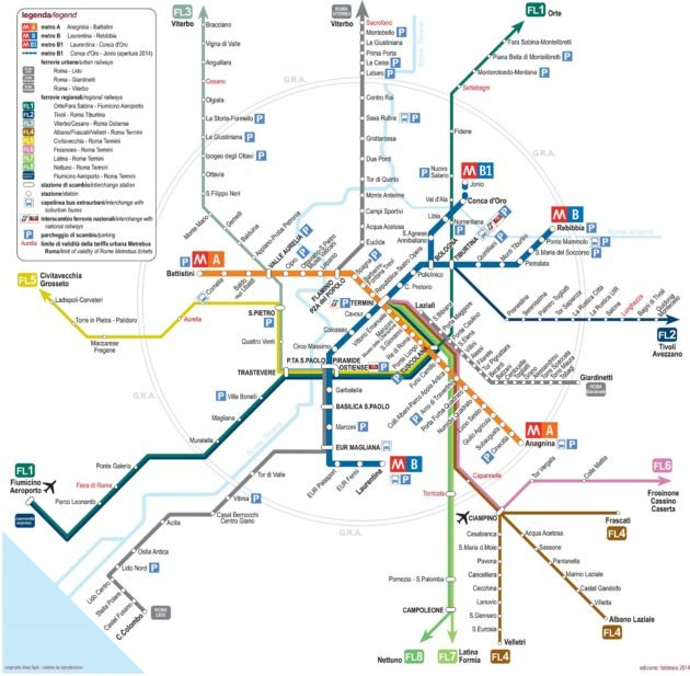 Carte & plan des transports en commun de Rome