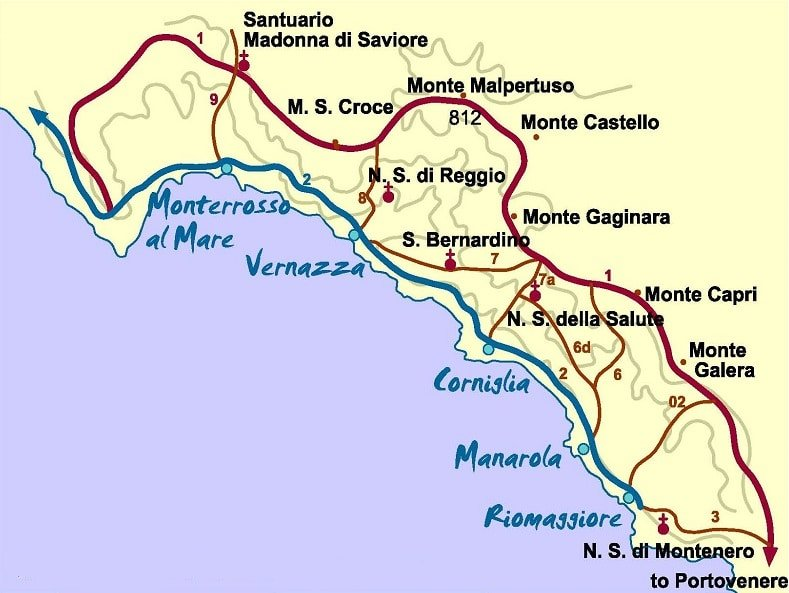 Carte des villages de Cinque Terre