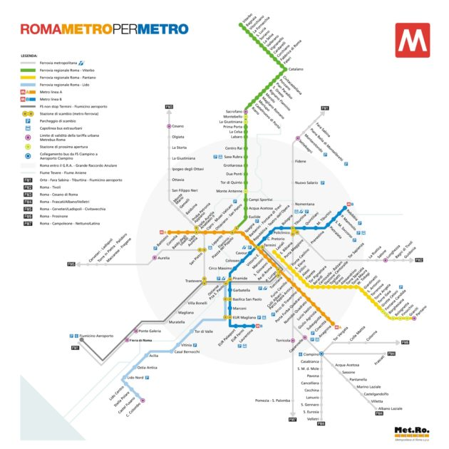 Carte & plan du métro de Rome
