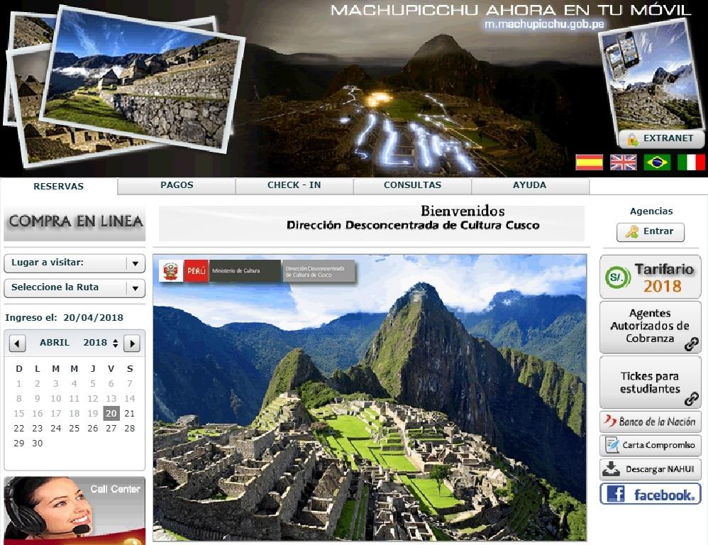Billet Machu Picchu, site officiel