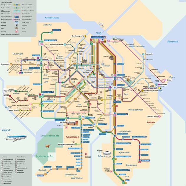 Carte & plan du métro d'Amsterdam