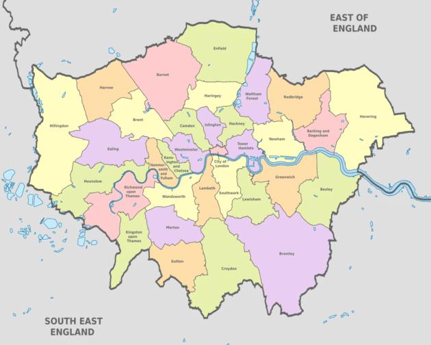 carte des quartiers de londres Cartes et plans détaillés de Londres