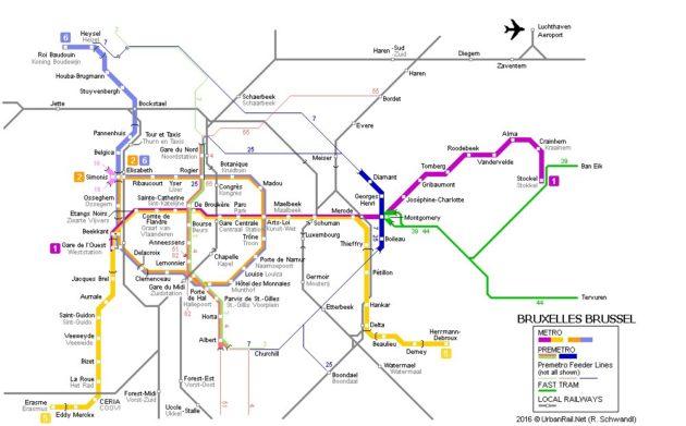 Carte et Plan des Transports de Bruxelles