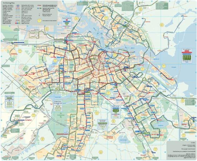 Plan et Carte Bus d'Amsterdam