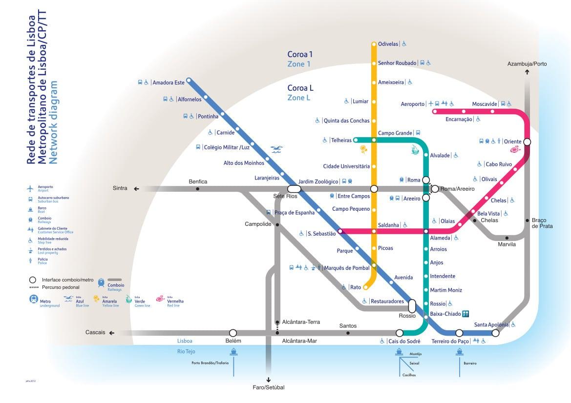 Carte et Plan du Métro de Lisbonne