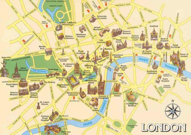 Carte et Plan des Monuments de Londres