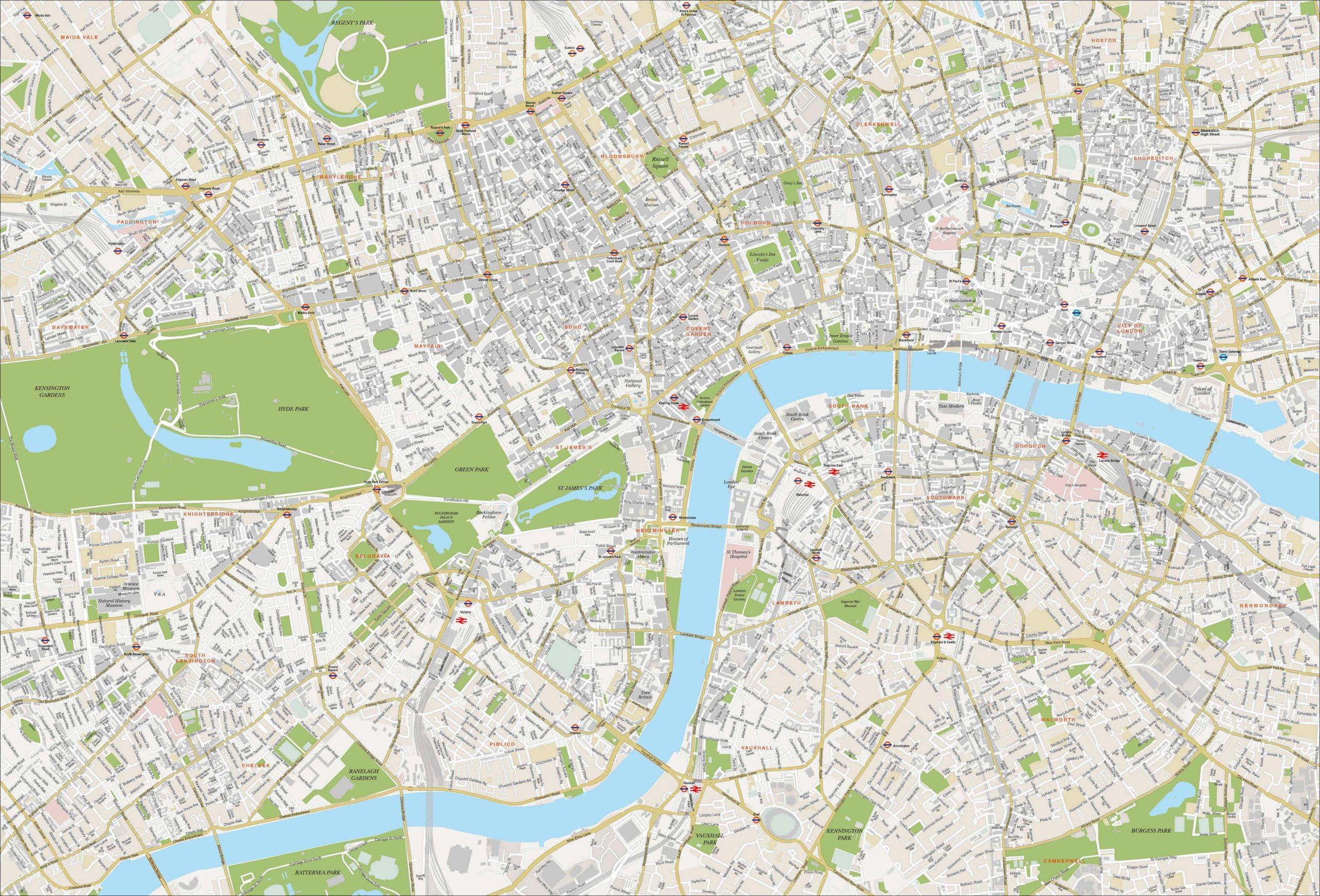 Zone Di Londra Cartina.Mappe E Percorsi Dettagliati Di Londra