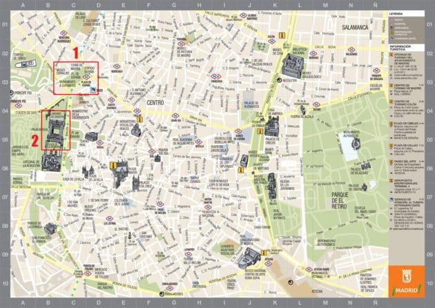 Carte et Plan des Monuments de Madrid
