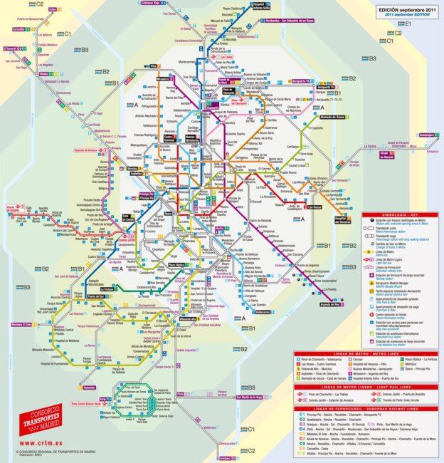 Carte et Plan des Transports de Madrid