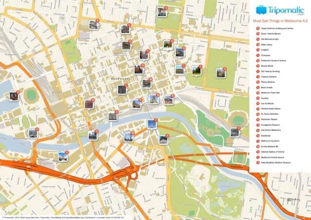 Carte et Plan des Monuments de Melbourne