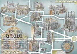 Carte et plan des monuments de Gaudi à Barcelone