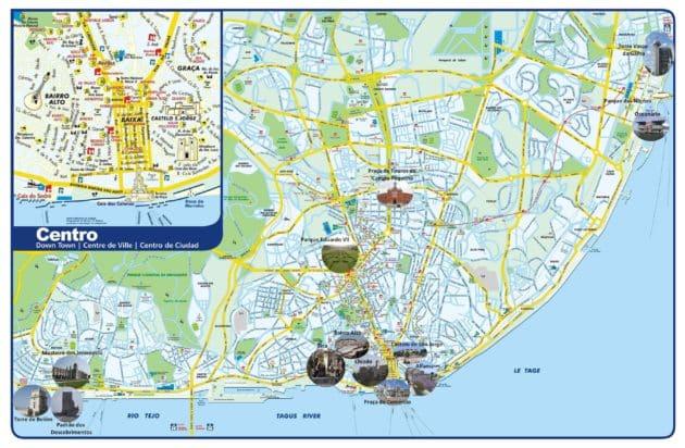 Carte et Plan des Monuments de Lisbonnes