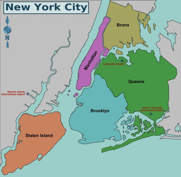 Carte et plan de New York : arrondissements (boroughs)