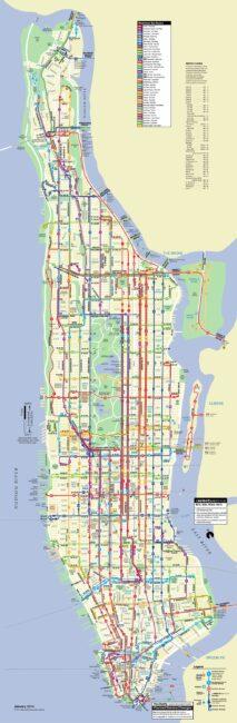 Carte et plan des bus de Manhattan (New York)