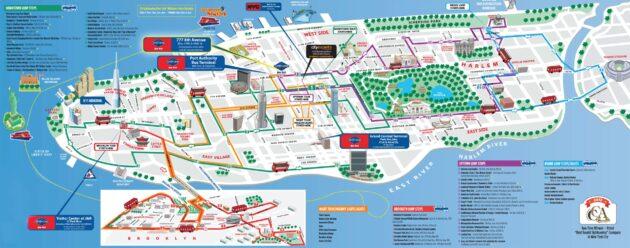 Carte et plan des monuments de New York