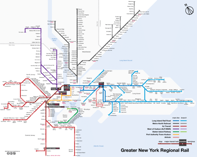 Carte et plan du train à New York