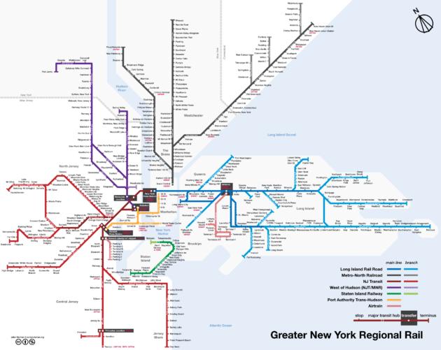Carte et plan du train à New York