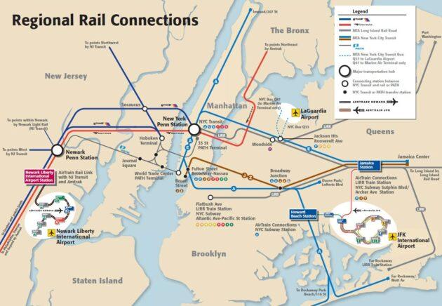 Carte et plan des lignes de transport des aéroports de New York