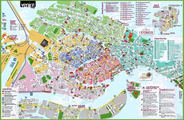 Carte et Plan des Quartiers de Venise