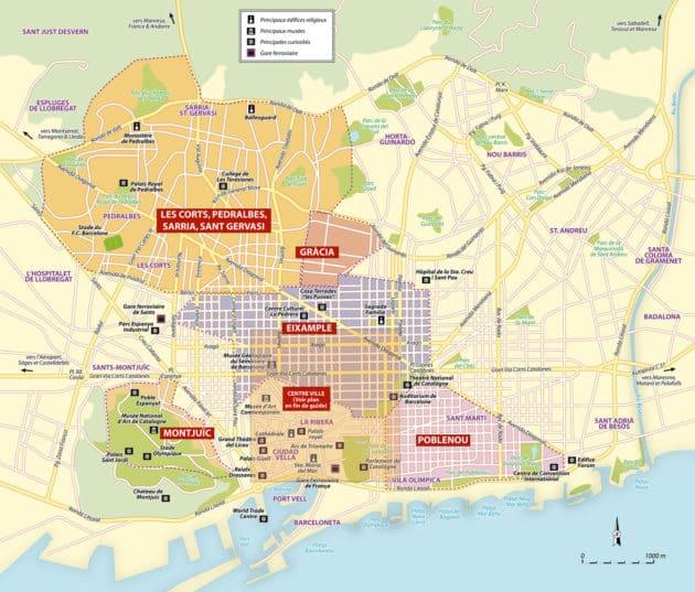 Plan et carte des quartiers de Barcelone