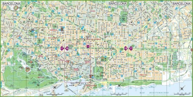 Plan et carte détaillées de Barcelone