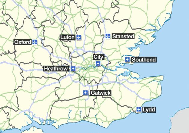 Plan et Carte des Aéroports de Londres