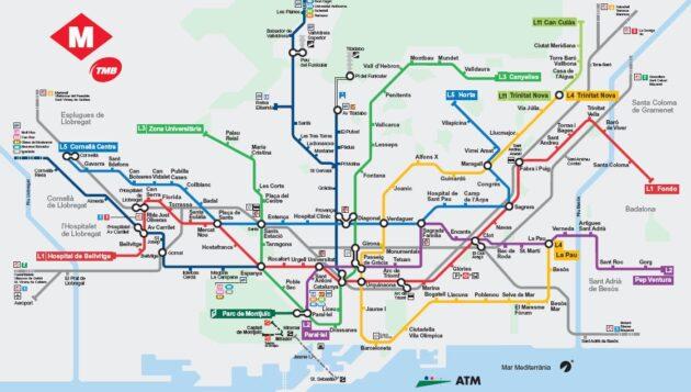 Plan et carte du métro de Barcelone