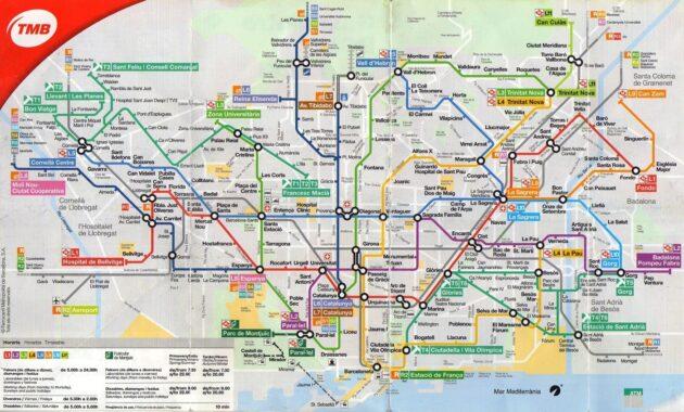 Plan et carte des transports en commun de Barcelone