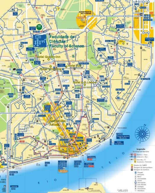 Plan et Carte des Transports à Lisbonne