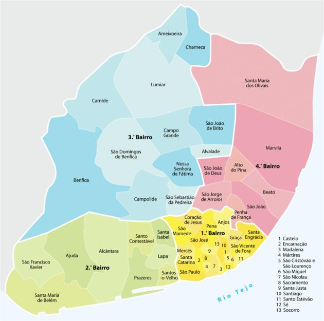 Plan et Carte des Quartiers de Lisbonne