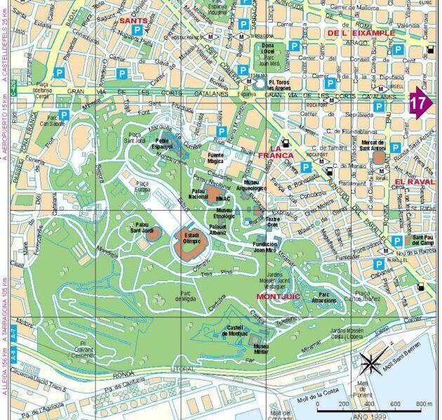 Plan et carte des quartiers Sants et Montjuic de Barcelone