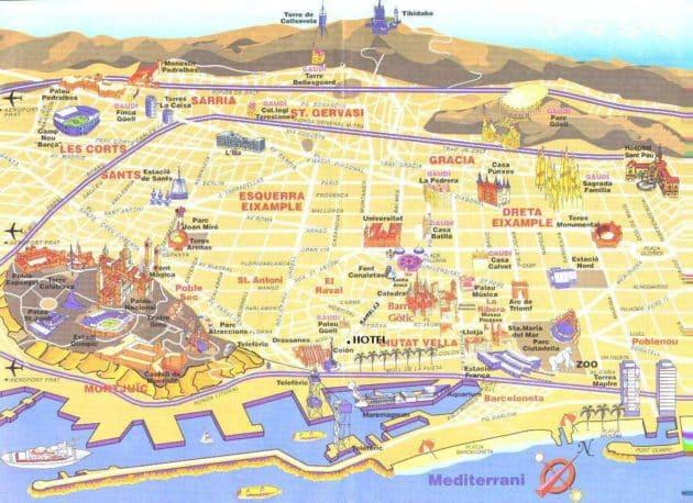 Plan et carte des lieux d'intérêts à Barcelone