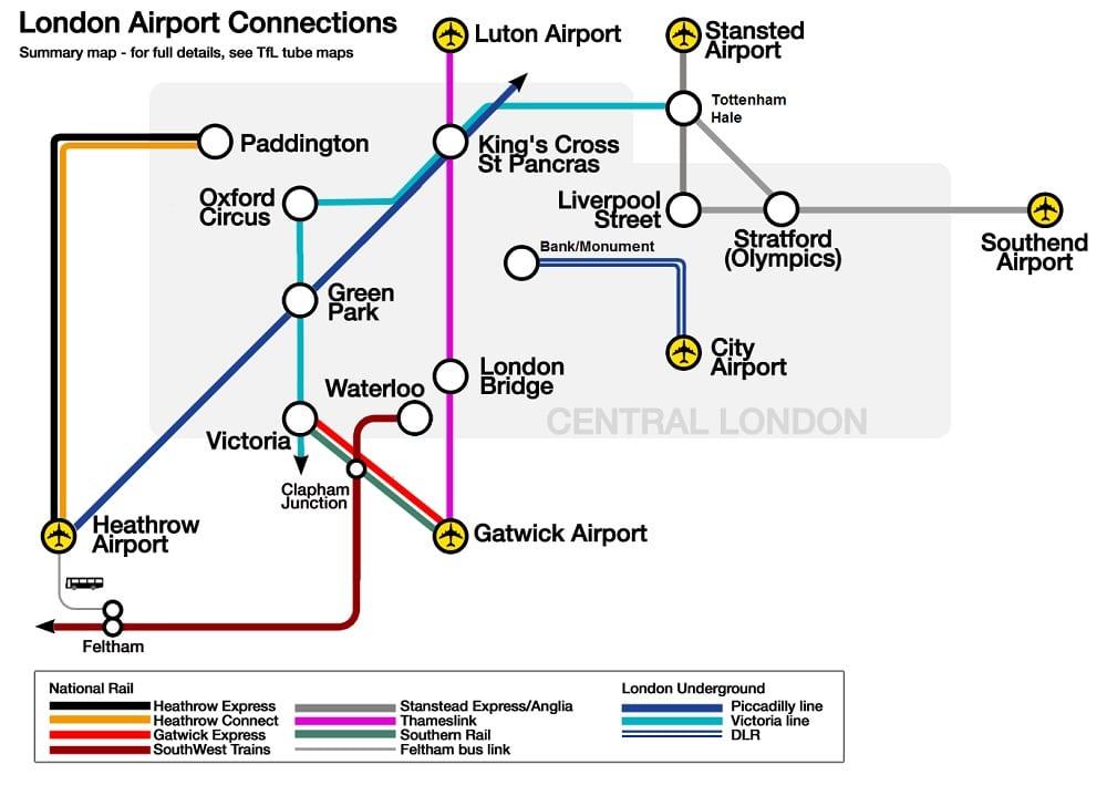 Plan et carte pour le transport depuis et vers les aéroports de Londres