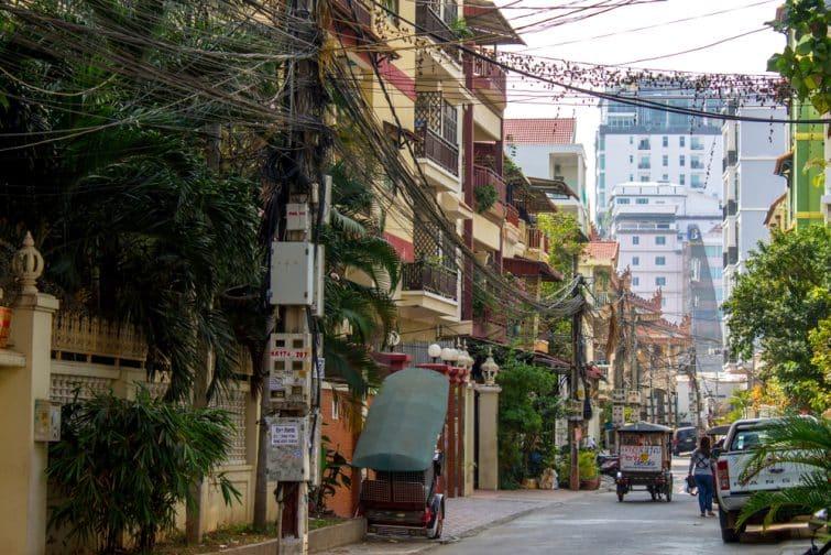 Rue dans le quartier de Tonle Bassac, Phnom Penh