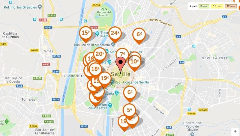 Carte des parkings pas cher à Séville