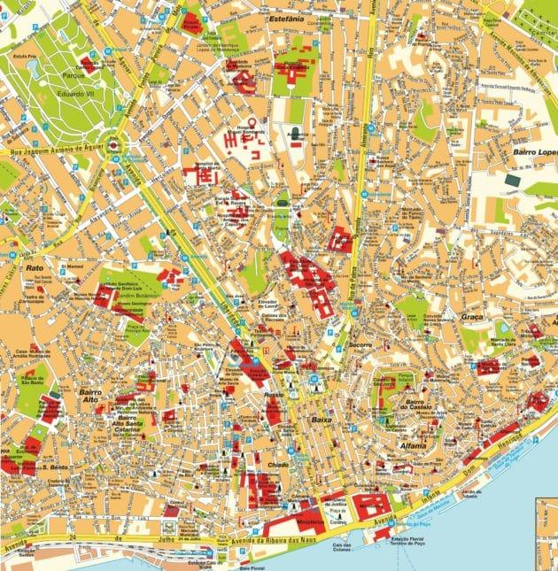 Cartes et plans détaillés de Lisbonne