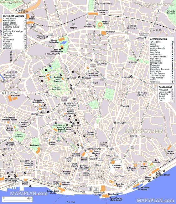 Carte et Plan du Centre de Lisbonne