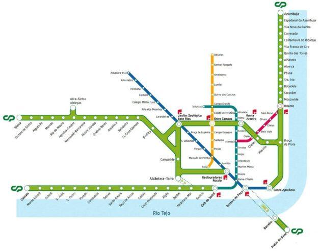 Carte et Plan des Trains de Lisbonne