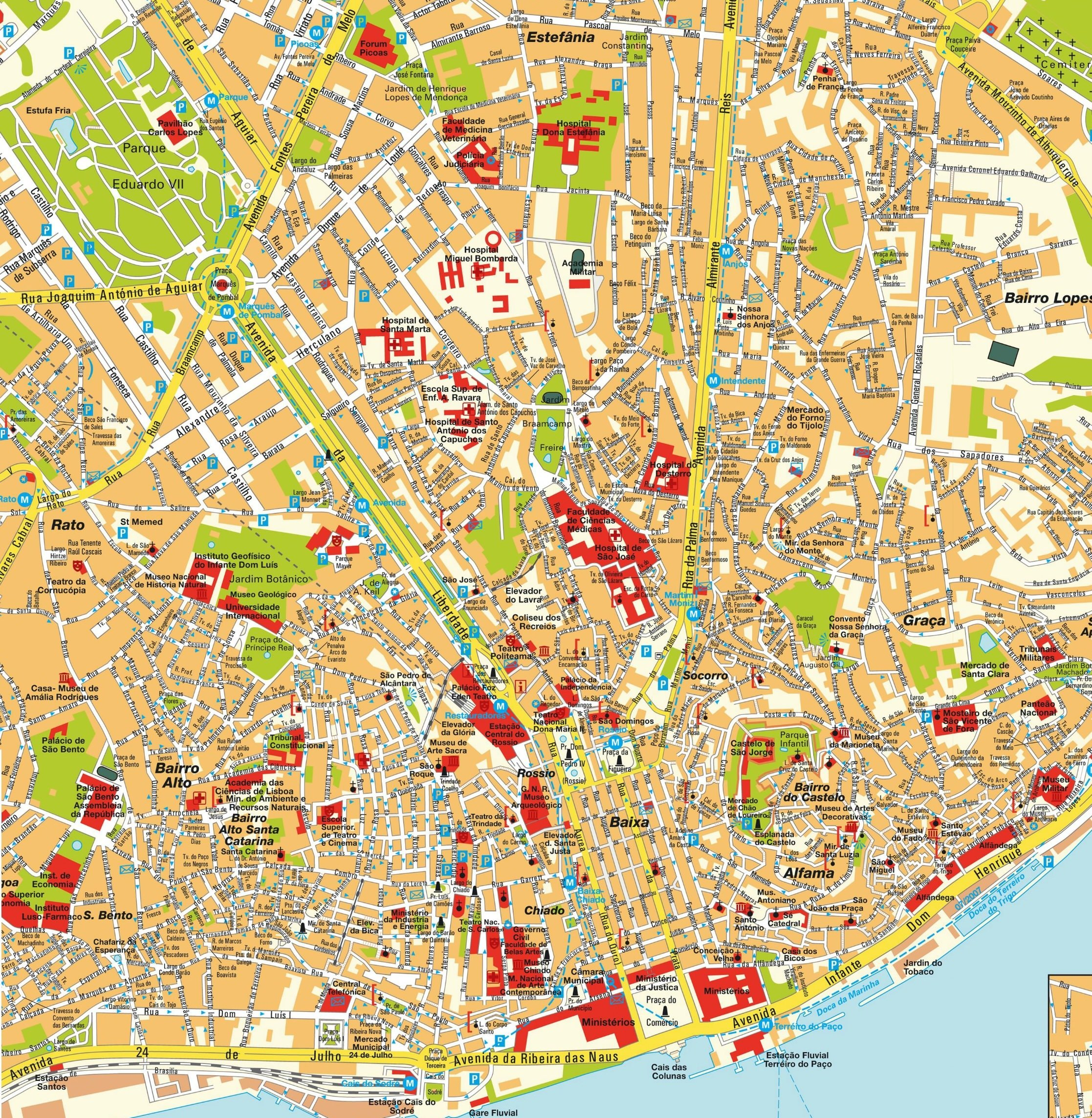 Cartes Et Plans Detailles De Lisbonne