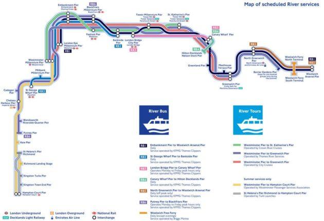 Carte et Plan des Navettes Fluviales de Londres