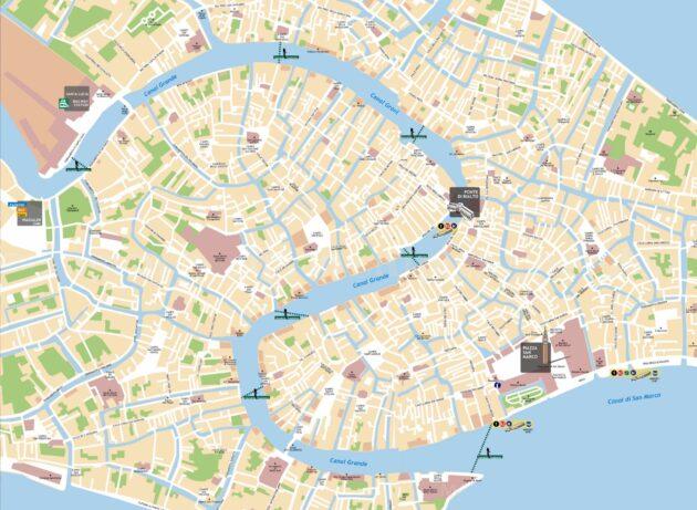 Carte et Plan des Transports en Traghetto à Venise