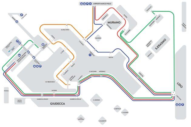 Carte et plan des transports Alilaguna de Venise